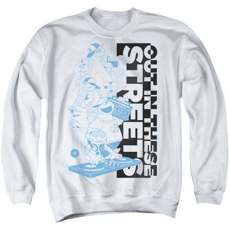 Trevco Sportswear SST288-AS-1 Sesame Street & Out in These Streets-Adult Crewneck Sweatshirt, White - Small - image 1 of 1