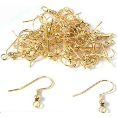Fish Hook Ear Wire Findings - 50 Gold Plated Earrings Fish Hook Wires Ball 22 Gauge