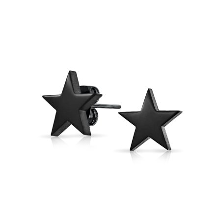 Simple Patriotic Celestial Star Stud Earrings For Men and Women Black Polished Finish Stainless Steel - Patriotic Earrings