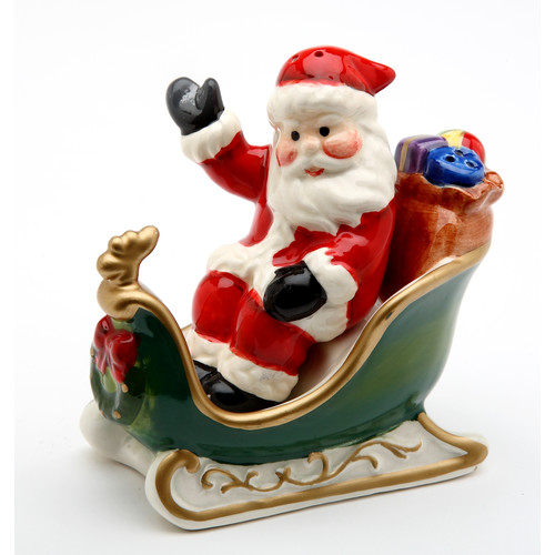 Cosmos Gifts Santa with Sleigh Salt and Pepper Set