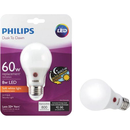 - Philips A19 Medium Dusk To Dawn LED Light Bulb