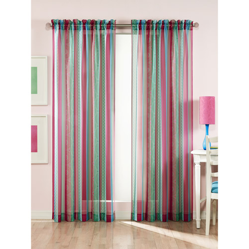 Clementine Stripes and Prints Sheer Curtain Panel, Multi