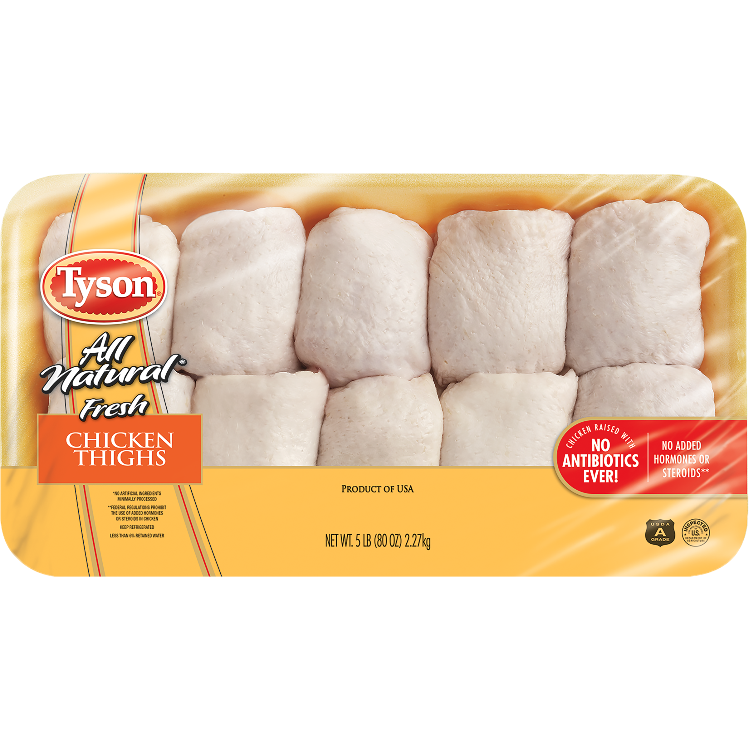 Tyson® All Natural Fresh Chicken Thighs, 5 lb