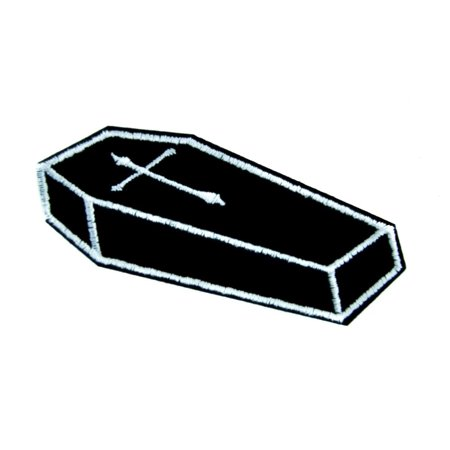 Voodoo Coffin with Cross Iron on Applique Gothic Occult -