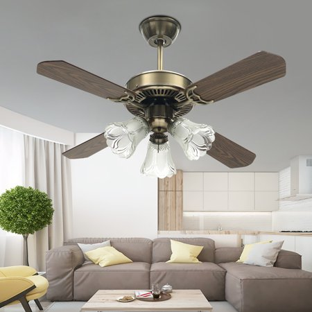 36 Inch Retro Classic Ceiling Fan Light Fixture Decoration 4 Blades Vintage Fan Lamp for Modern Restaurant Living Room with Glass Lampshade Remote Control - Decorations That Hang From The Ceiling