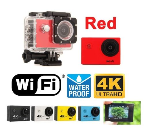 Red Sports Action Camera 4K HD Waterproof with Touch Screen LCD POV Adventure Camcorder with Accessories