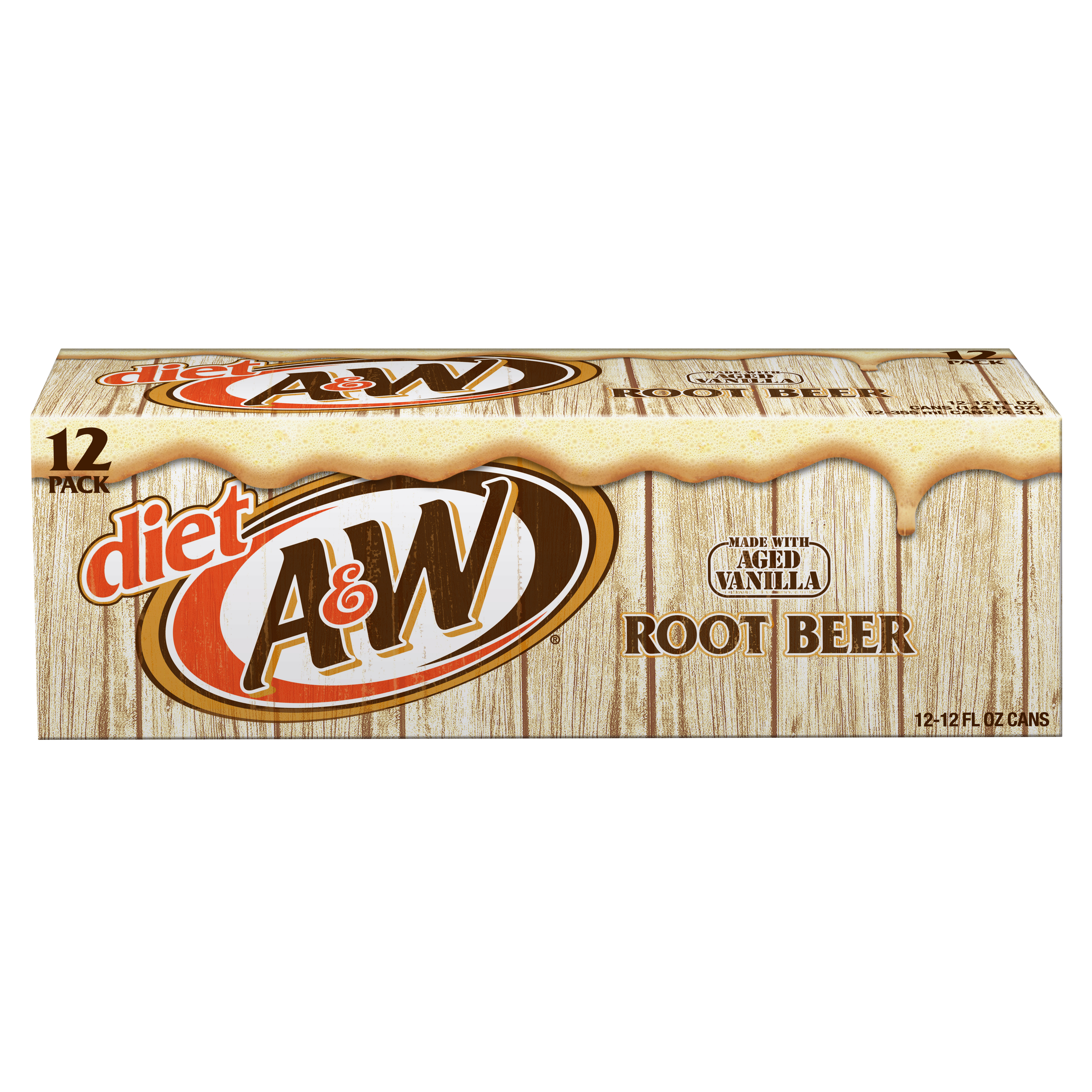 Diet A&W Root Beer, 12 fl oz, 12 pack