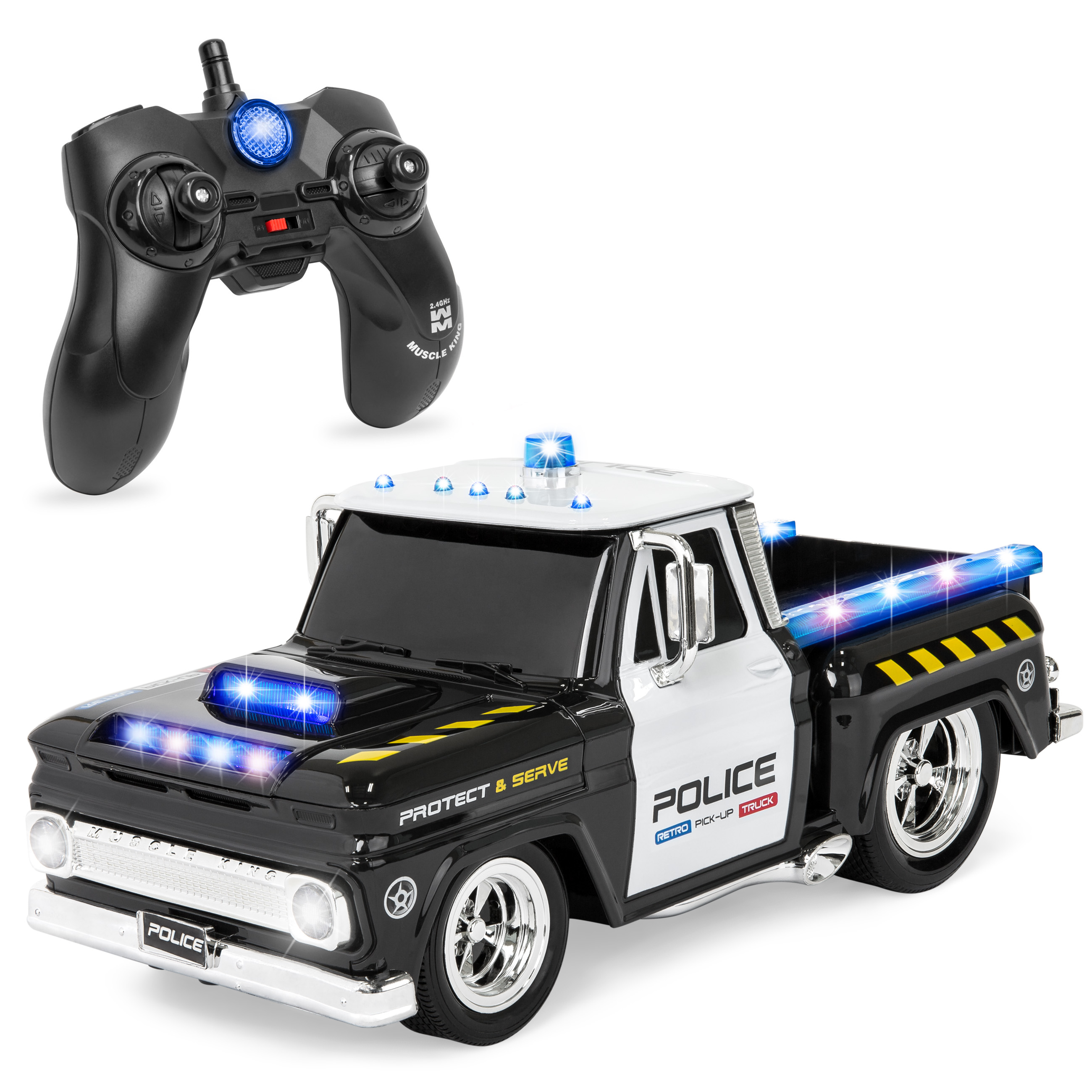 Best Choice Products 1/16 Scale Kids Remote Control Police Emergency Rescue Truck RC Car Toy w/ Headlights, Sounds, 7.4mph Top Speed - Black/White