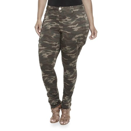 Jack David Womens Plus Size Camouflage cargo Stretch Skinny Leg twill Jean Pants ()