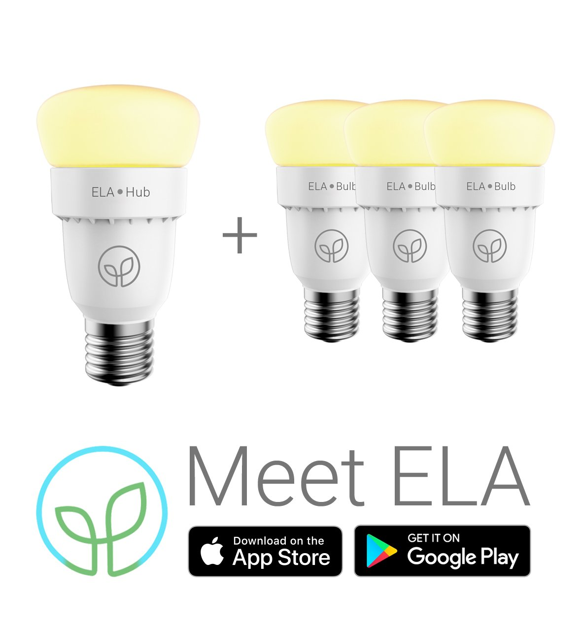 Ela Smart Hub 3 Bulbs Starter Kit Fluorescent Lamp Lights