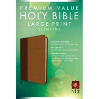 Premium Value Slimline Bible Large Print NLT, TuTone (LeatherLike, Brown/Tan)