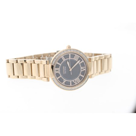 Citizen Eco-Drive EM0103-57H Women's Rose Gold 28 Diamond Accent Gray Dial Watch