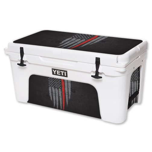 MightySkins Protective Vinyl Skin Decal for YETI Tundra 65 qt Cooler wrap cover sticker skins Thin Red Line