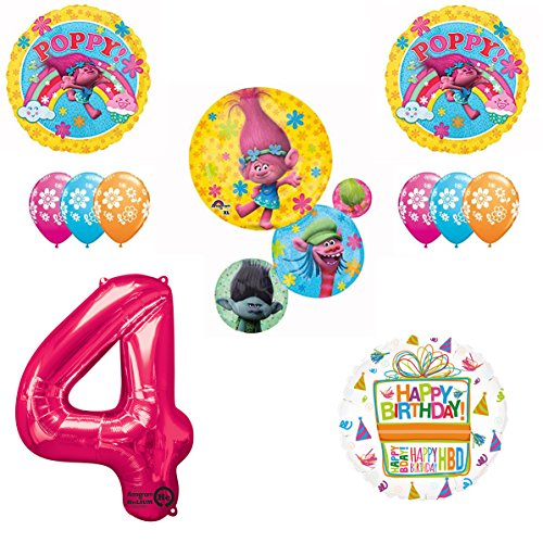 TROLLS Movie 4th Happy Birthday Party Balloons Supplies Poppy Branch Movie