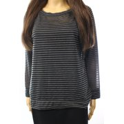Caslon NEW Black Women's Size Small S Striped Scoop Neck Sheer Blouse