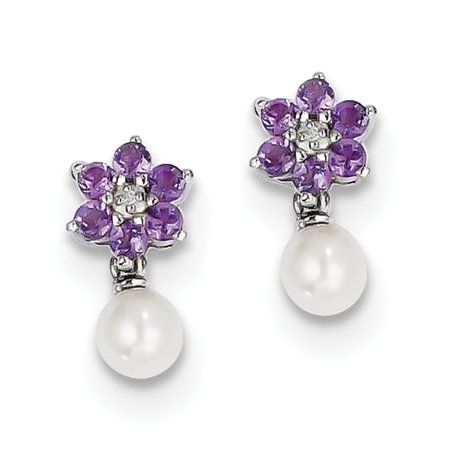 - 925 Sterling Silver Freshwater Cultured Pearl Purple Amethyst Diamond Post Stud Earrings Drop Dangle Flower Gardening For Women