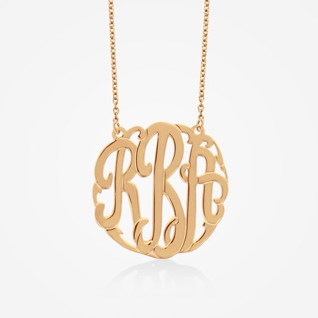 Rose Gold over Sterling Silver Monogram Necklace