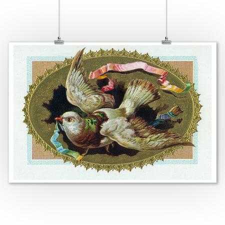 Bird with Ribbon in its Beak Cigar Box Label (9x12 Art Print, Wall Decor Travel Poster)](Its A Boy Cigars)
