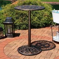 Sunnydaze Bar Height Patio Table, Outdoor Round High Top Pub Table, Durable Cast Iron, 26 Inch Diameter, 40 Inch Tall by Sunnydaze Decor