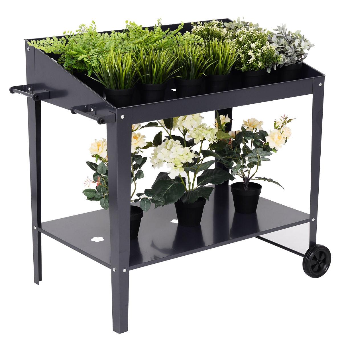 Goplus 35'' x 22'' Raised Garden Bed Potting Bench Work Station Plant Storage Shelf