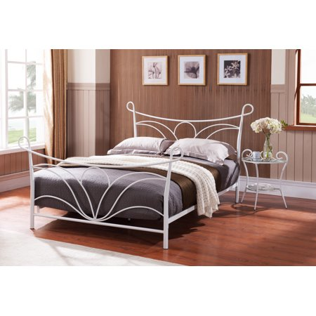 hammer white queen size metal bed headboard footboard rails slats. Black Bedroom Furniture Sets. Home Design Ideas