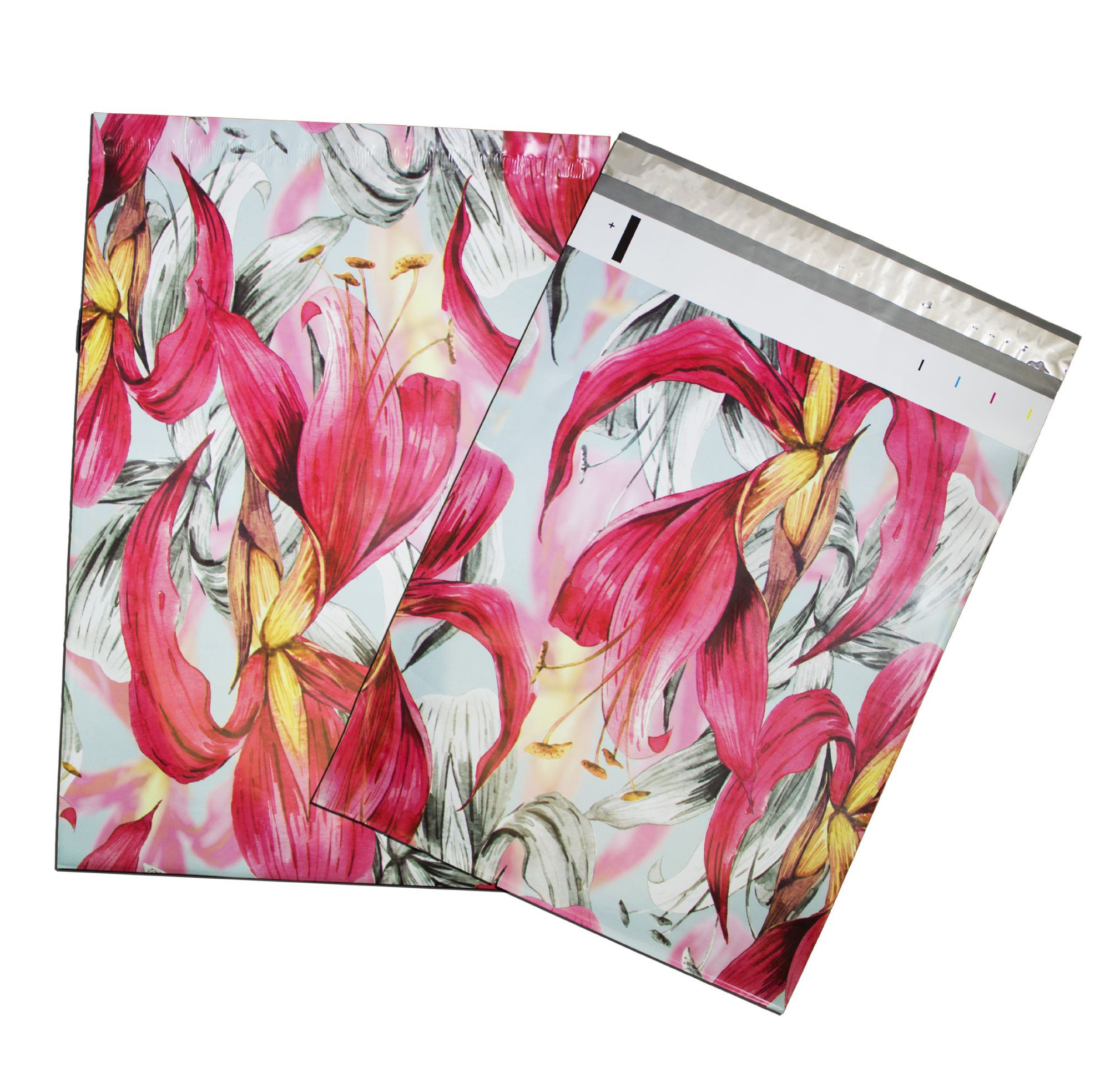 """10"""" x 13""""  Wild Pink Tropical Flat POLY MAILERS, Self Sealing Flat Envelopes, Business Mailers (100Pack)"""