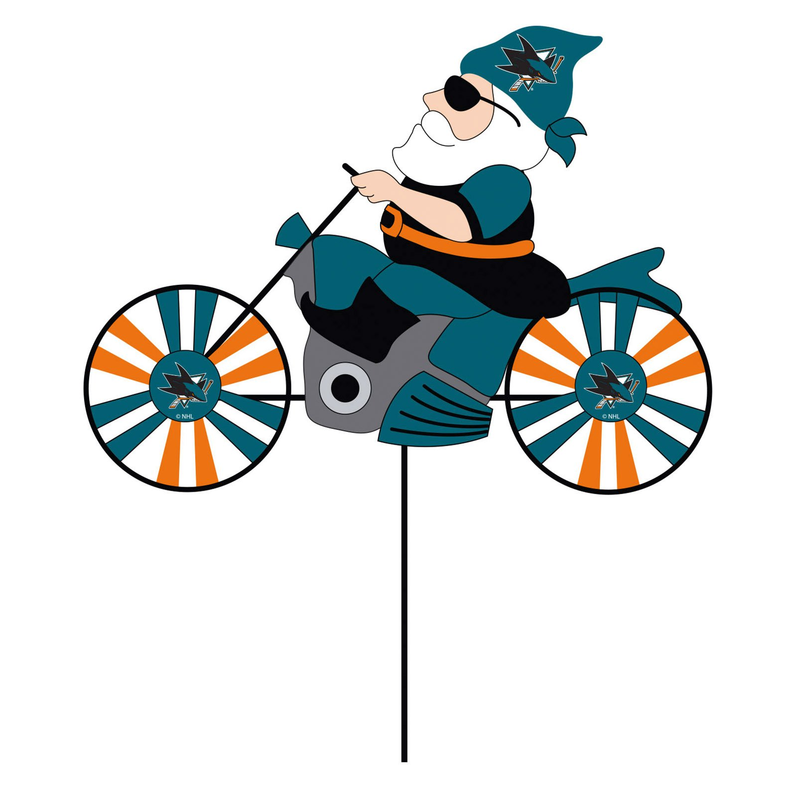San Jose Sharks Motorcycle Riding Garden Gnome Wind Spinner
