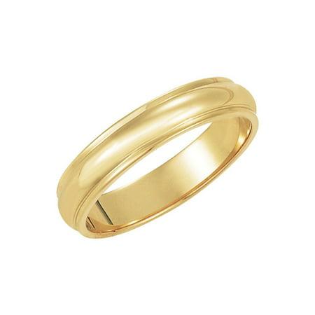 4mm Half Round Ridged Edge Band in 14 Karat Yellow Gold