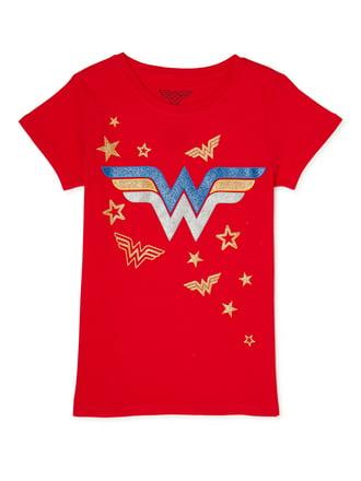 Girls Superhero T-Shirt Kids Supergirl Wonder Woman Batgirl Tops Age 3-10 Years
