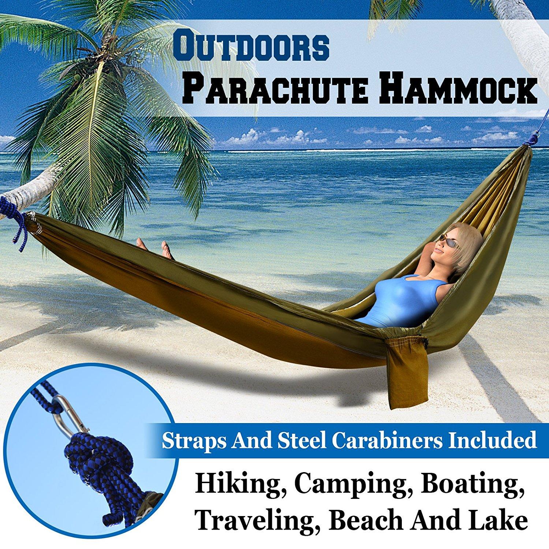 Sunrise Portable Nylon Parachute Hammock Light Travel Camping, Hiking, Swing Bed (Khaki/Green)