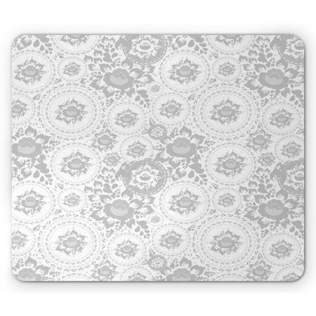Grey Mouse Pad, Shabby Form Medieval Slavic Monochrome Rose Petals Florets Fragrance Work of Art, Rectangle Non-Slip Rubber Mousepad, White, by Ambesonne