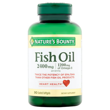 - Nature's Bounty Fish Oil Omega-3 Softgels, 2400 Mg + 1200 Mg Omega-3, 90 Ct