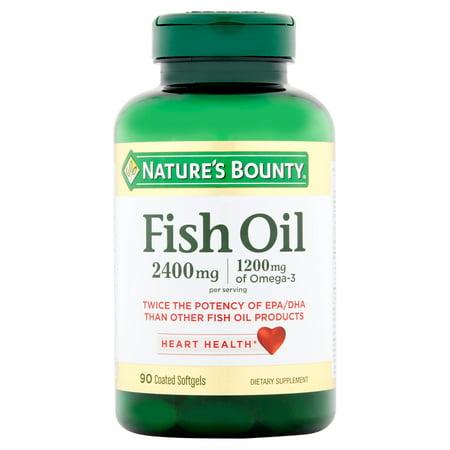 Nature's Bounty Fish Oil Omega-3 Softgels, 2400 Mg + 1200 Mg Omega-3, 90