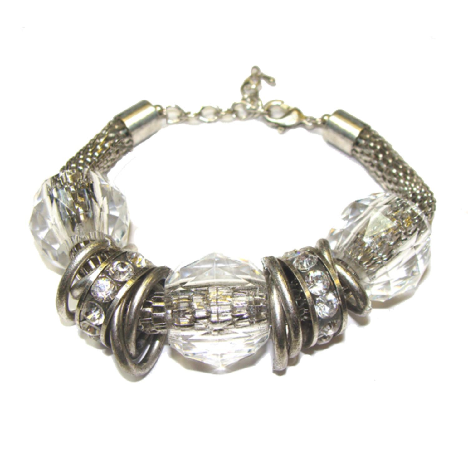 Clear Faceted Ball, Crystal and Antique-Silvertoned Chain Mail Jewelry Bracelet