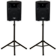 """Podium Pro PP1207A Bluetooth 12"""" Active Speakers and Stands MP3 1200W PP1207ASET1"""