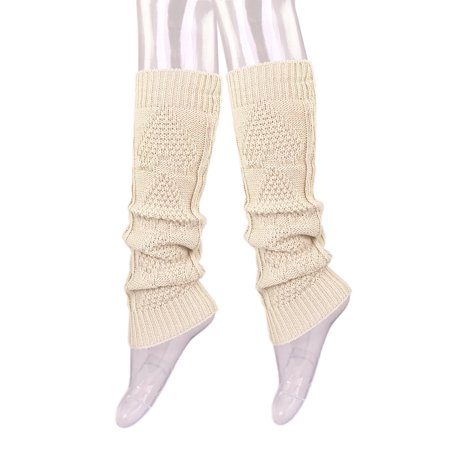 Premium Solid Color Soft Heart Knit Leg Warmers (Fence Net Leg Warmers)
