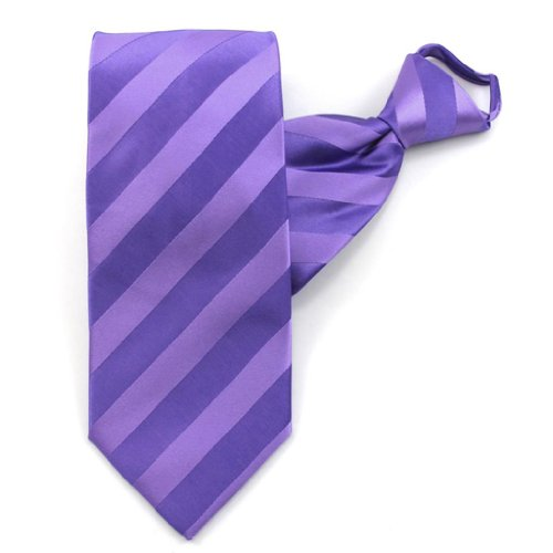 Purple Solid Color Tonal Stripe Zipper Ties
