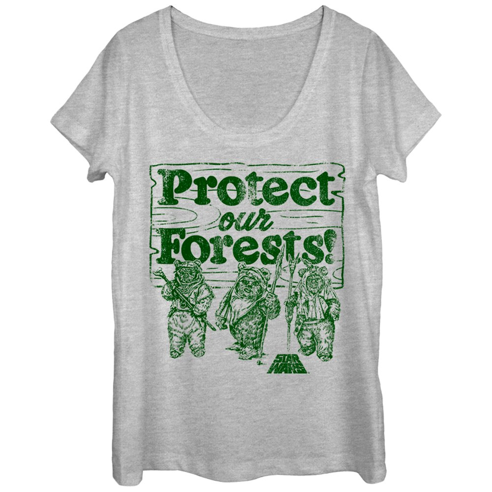 Star Wars Women's Ewok Protect Our Forests Scoop Neck T-Shirt
