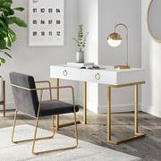 Nathan James Leighton Two-Drawer Modern Desk White and Gold Finish