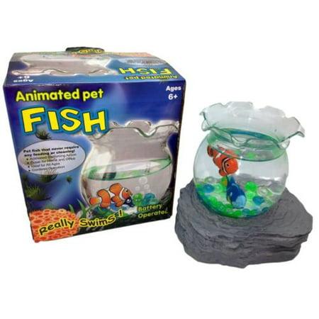 Battery operated magic fake fish bowl animated pet for Fake fish that swim
