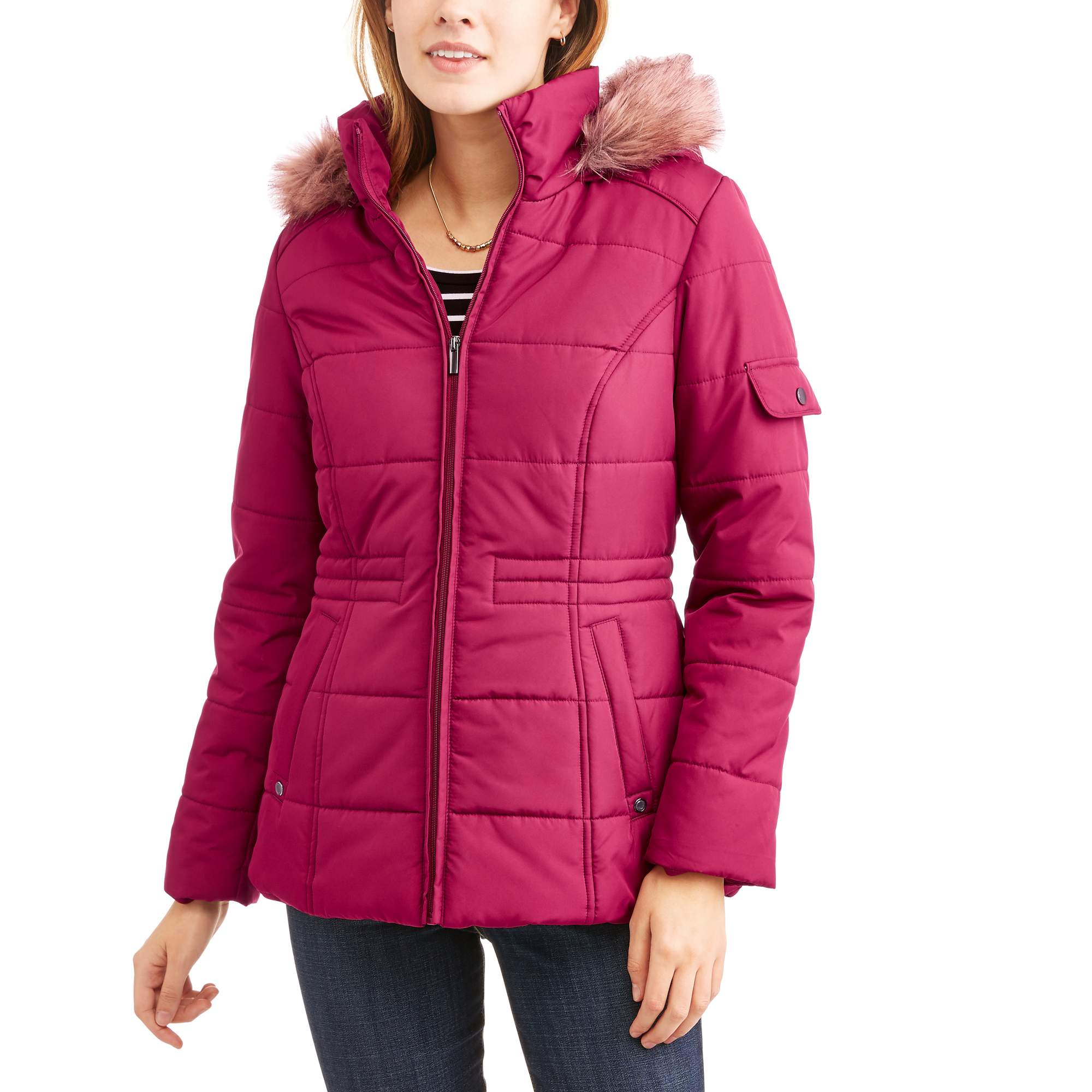 Faded Glory Women's Quilted Puffer Jacket With Faux Fur-Trim Hood