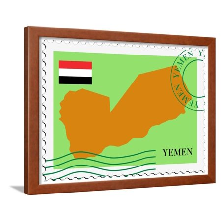 Stamp with Map and Flag of Yemen Framed Print Wall Art By Perysty (Yemen Map)