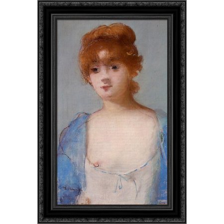 Black Negligee - Young woman in a negligee 18x24 Black Ornate Wood Framed Canvas Art by Manet, Edouard
