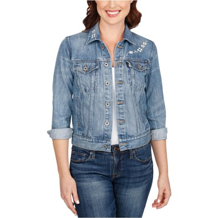 Lucky Brand Womens Embroidered Jean Jacket