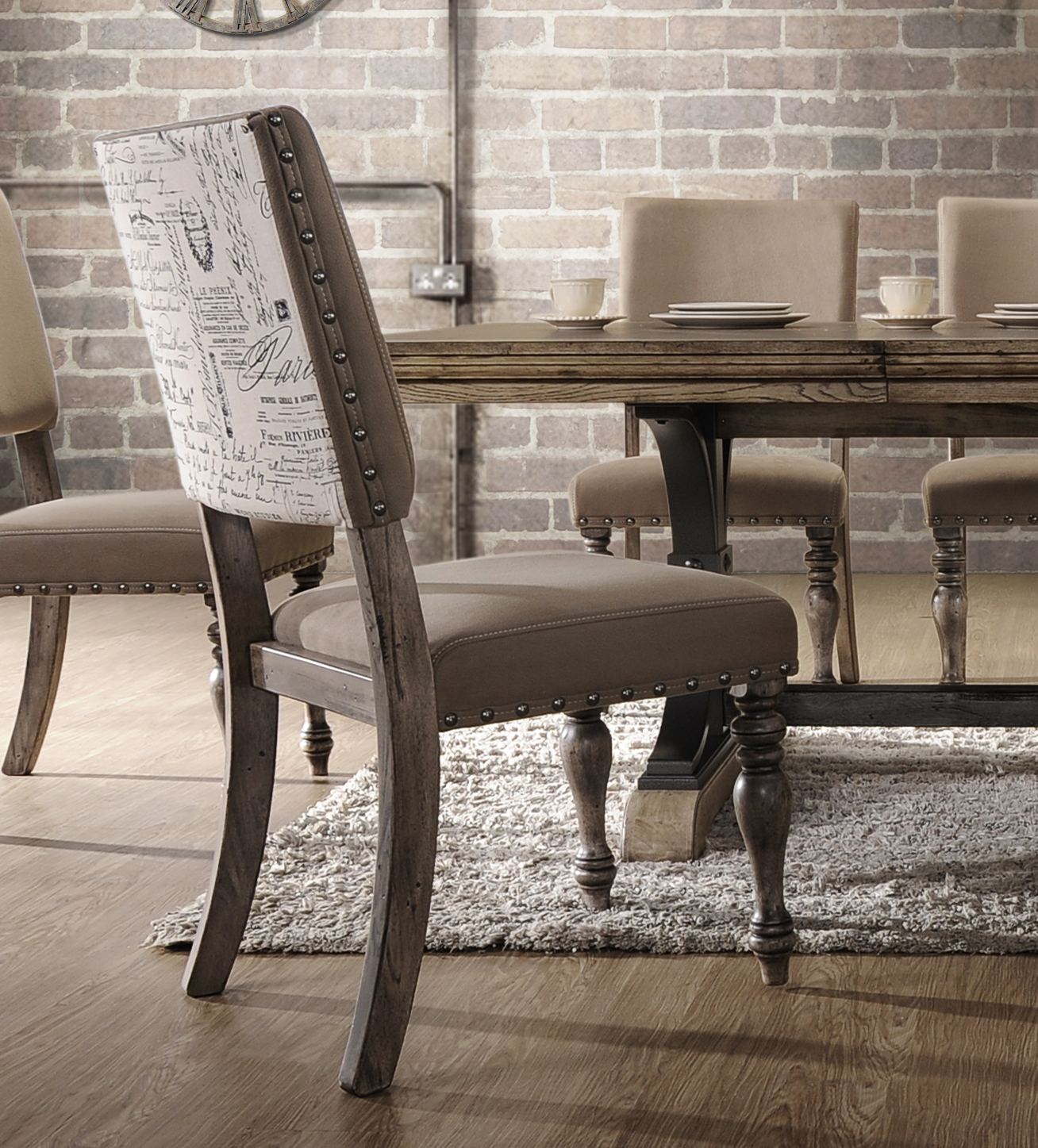 Roundhill Furniture Birmingham Script Printed Finish Dining Chair with Nail Head, Set of 2, Driftwood