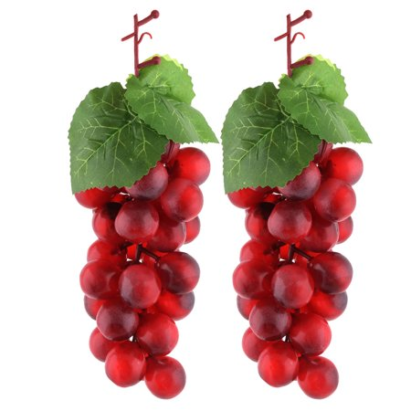 Grape Decor - Plastic Photo Prop Decor Artificial Grape Designed Emulation Fruit Burgundy 2pcs