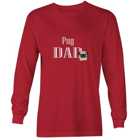 - Fawn Pug Dad Long Sleeve Red Unisex Tshirt Adult Medium BB5270-LS-RED-M