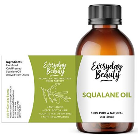Squalane Oil - 100% Pure & Natural Plant Derived Facial Oil 2oz - Cold Pressed and Unrefined Premium Grade Multipurpose Moisturizing Oil For Skin and Hair