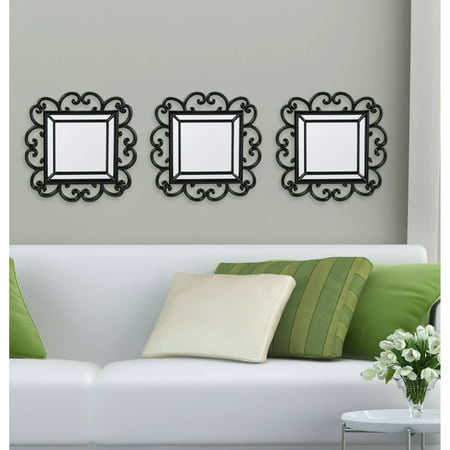 Elements Set of 3 Square Plastic Black Curl Wall Mirrors ()