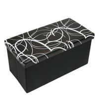 Otto & Ben 30 Inch Swirl Design Memory Foam Folding Storage Ottoman Bench with Faux Leather